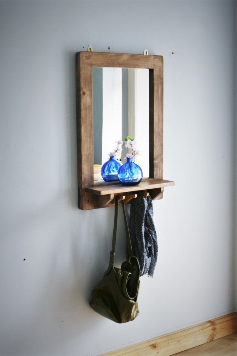large mirror with shelf & 3 coat hooks natural wood frame image 0