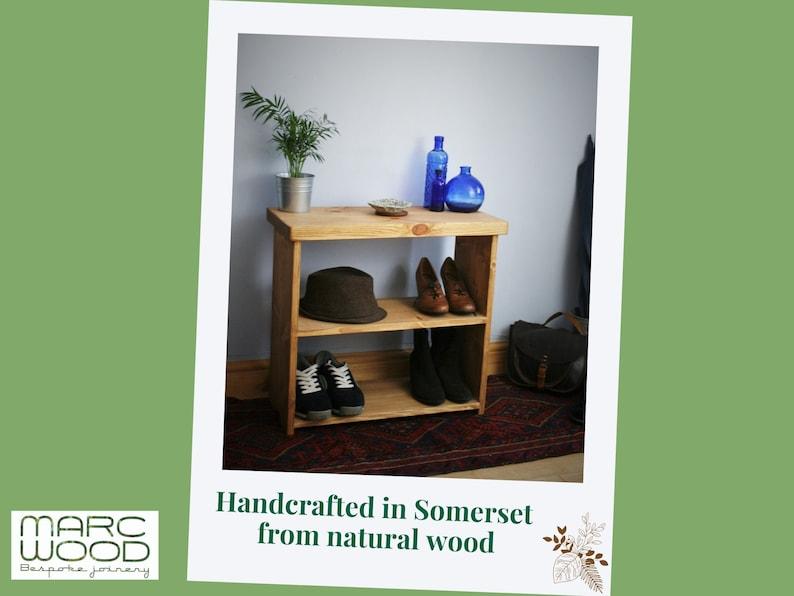 wooden shoe bench & rack small low bookcase 65Wx60Hx29Dcm image 0