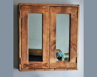 Large bathroom mirror cabinet, dark wood cabinet, rustic medicine, 60Wx65Hx14D cm, 2 doors, 3 shelves, sustainable, custom handmade Somerset