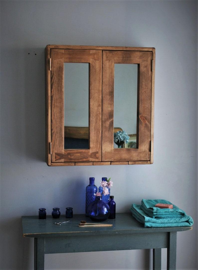 Large bathroom mirror cabinet dark wood cabinet rustic image 0