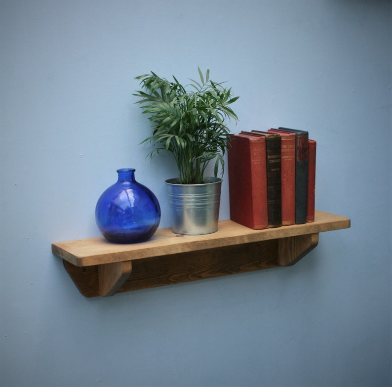 wood bookshelf chunky natural wood wall shelf 62 cm long x image 0
