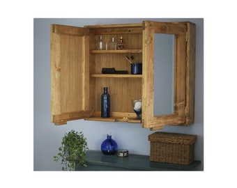 Large bathroom mirror cabinet, 80Wx70Hx16.5D cm, wooden medicine vanity, 3 shelves, 2 doors, modern rustic farmhouse custom made Somerset UK