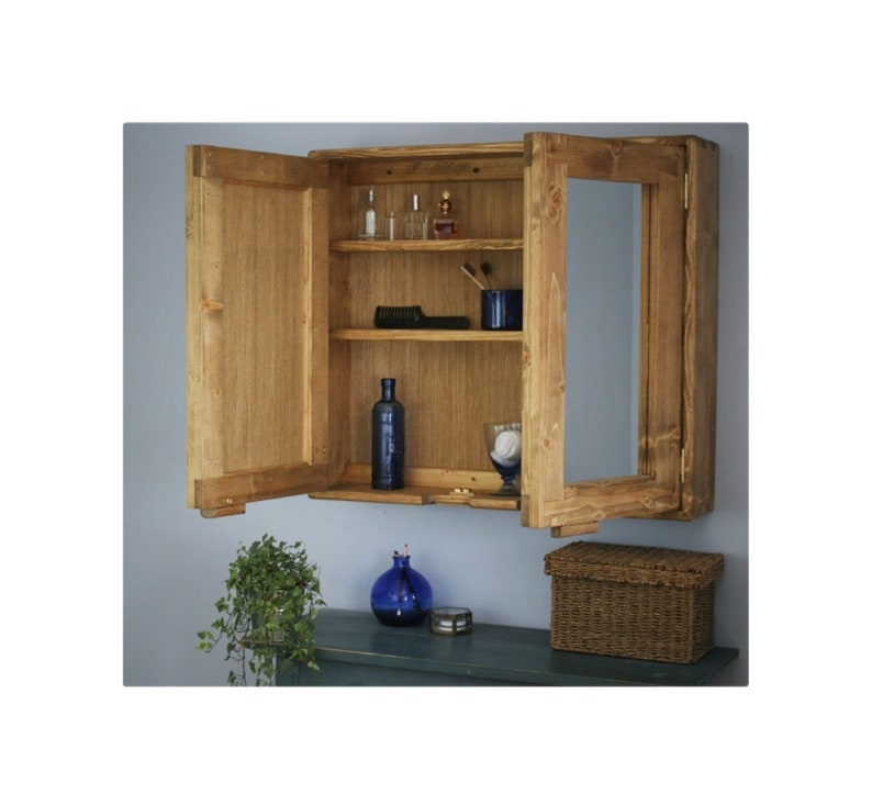 Large bathroom mirror cabinet 80Wx70Hx16.5D cm light wood image 0