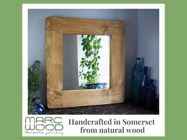 wooden wall mirror with chunky sustainable natural wood frame image 0
