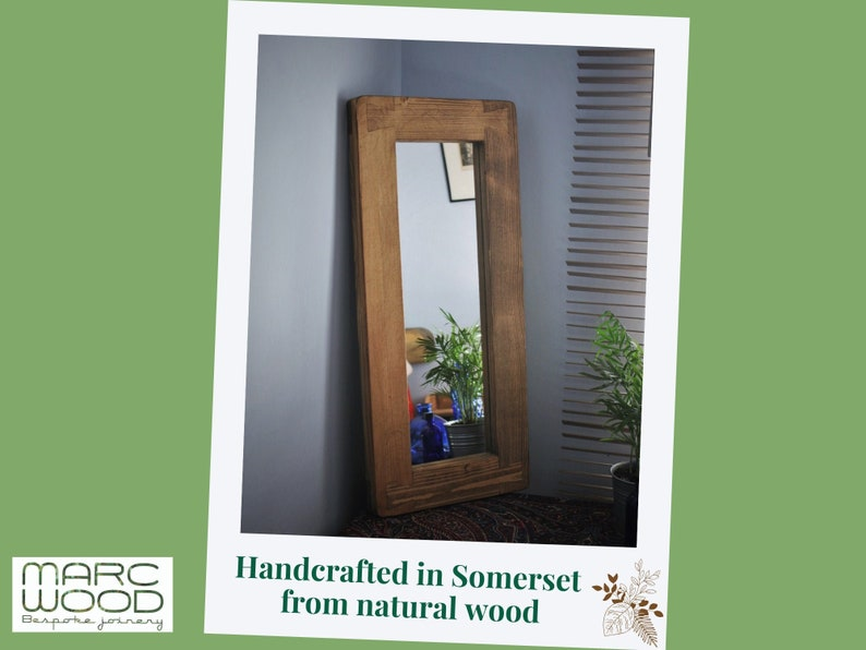 wooden wall mirror in rustic dark wood thick natural wood image 0