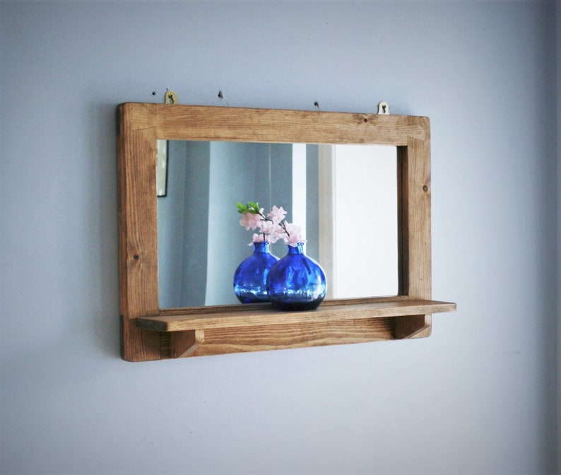 large mirror with shelf light wooden frame & wide candle image 0