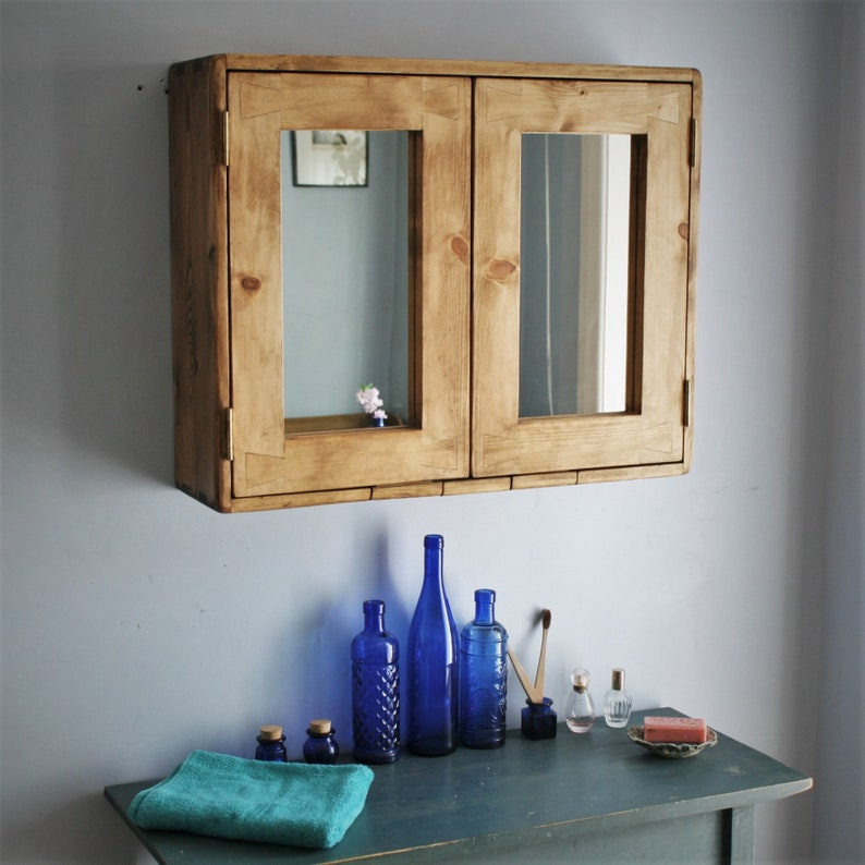 Large wooden bathroom cabinet double mirrored doors natural image 0