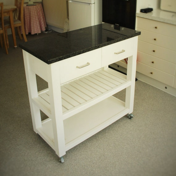 kitchen island trolley with granite top, towel rail, 2 drawers & vegetable  shelf, solid natural wood, modern rustic simplicity from Somerset