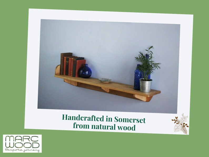 wide wooden shelf with brackets & chunky book end sustainable image 0