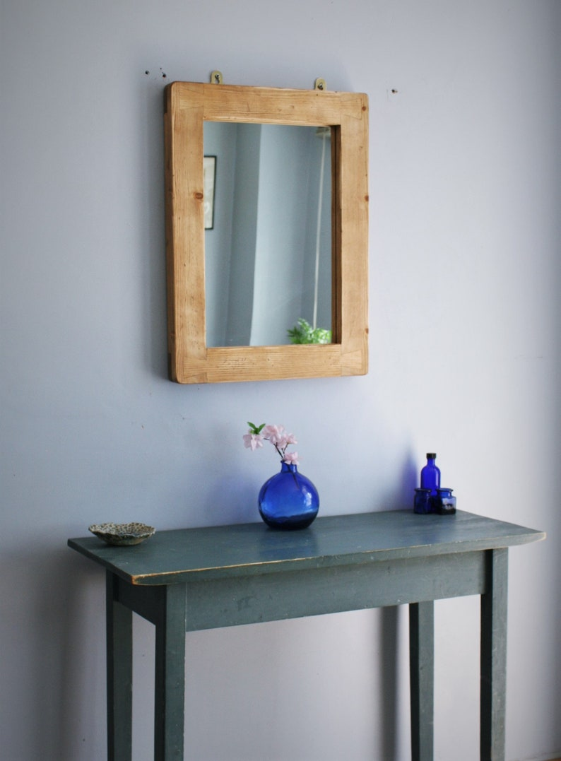wall mirror in pale distressed rustic wood thick wood frame image 0