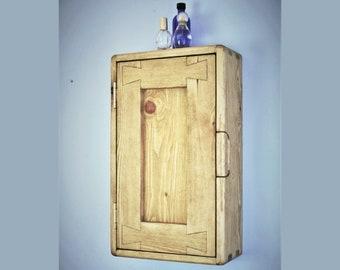 Slim bathroom wall cabinet, over sink medicine vanity in natural wood, with 3 shelves, x1 wooden door, rustic industrial from Somerset UK