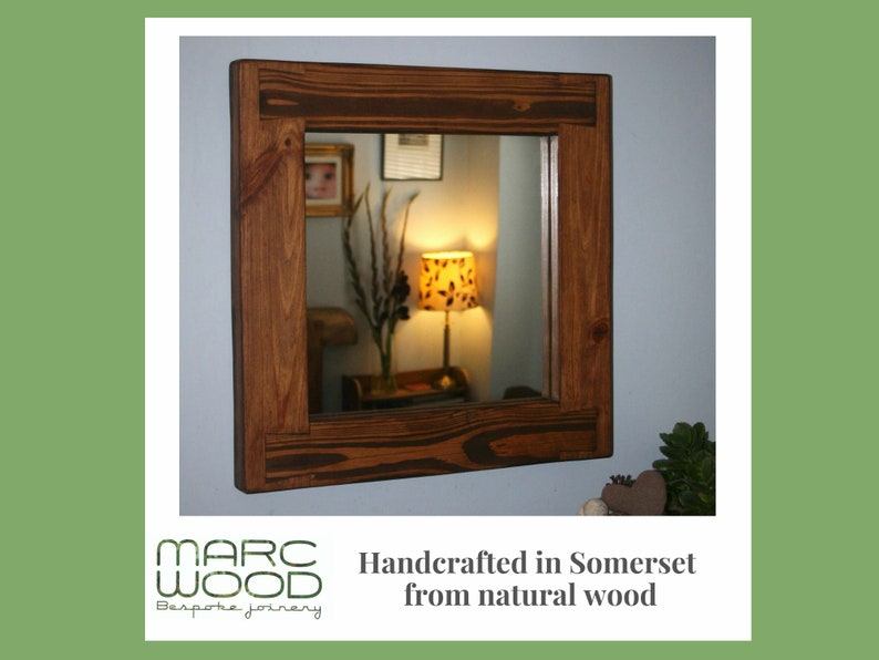 square wall mirror with thick frame in natural sustainable image 0