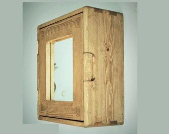 Bathroom cabinet, rustic farmhouse mirror door, natural wooden medicine cabinet, over sink storage 43.5H x 38.5W x18 deep cm in Somerset UK