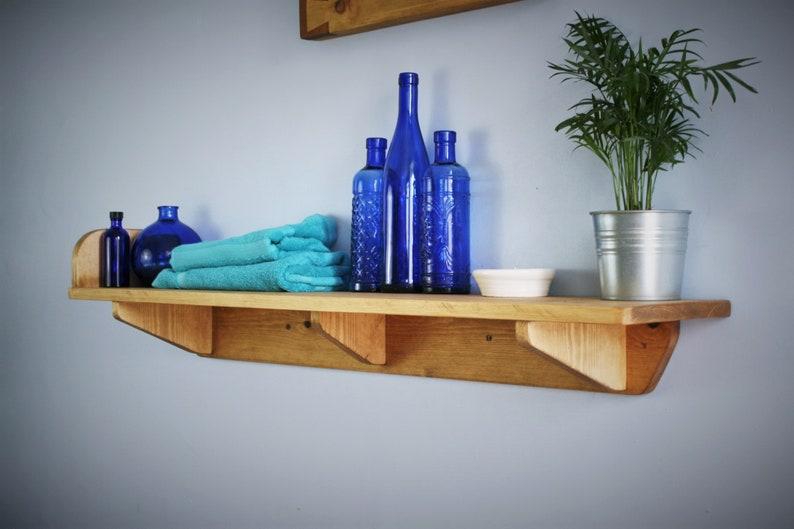 Wide wooden bathroom wall shelf storage shelf & book end image 0