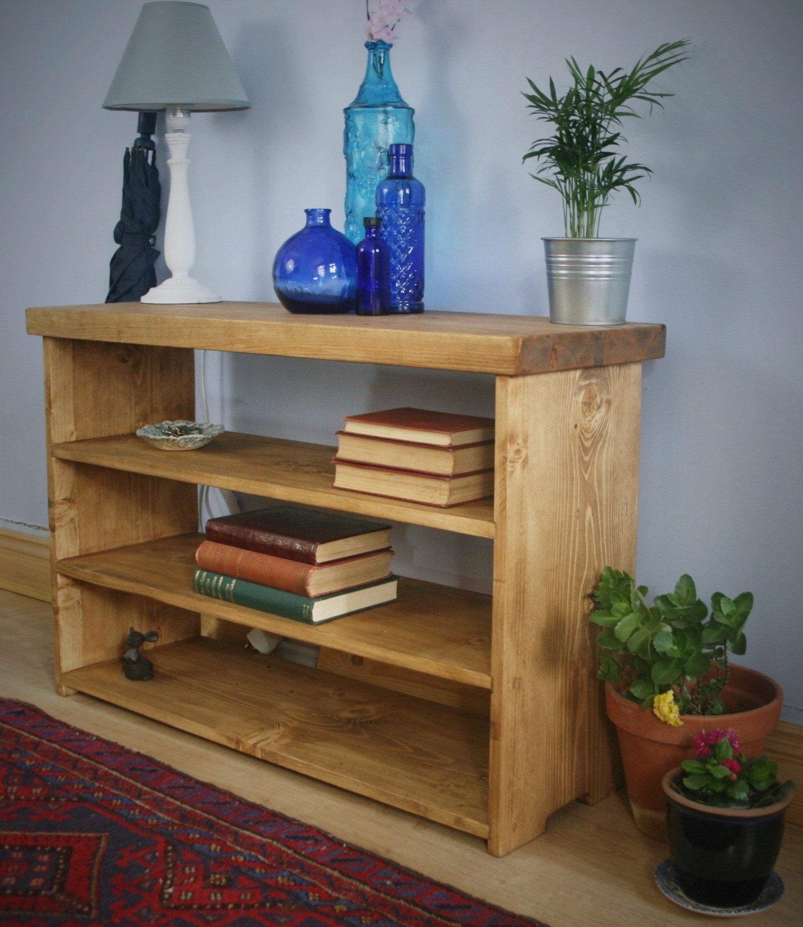 Hall Table Low Bookshelves Eco Natural Wood Slab Table Top 90 Wide X60hx29d Cm Modern Rustic Farmhouse Style Handmade In Somerset Uk