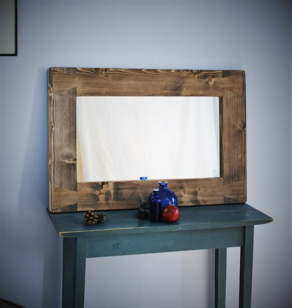 Large Wooden Wall Mirror With A Chunky, Large Wall Mirror Uk