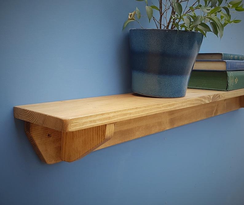 Long wooden wall shelf natural wood chunky shelf 114cm long image 0