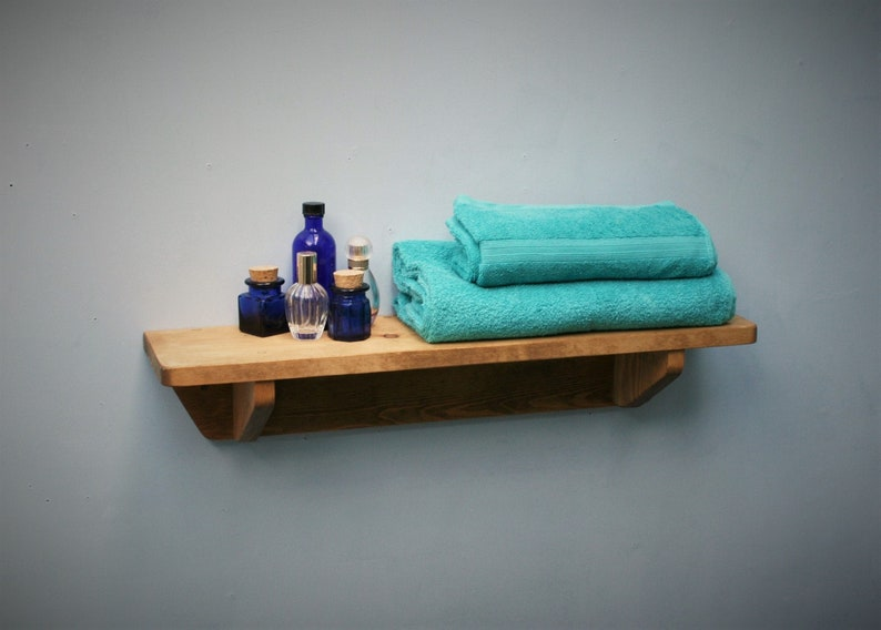 wood wall shelf for your bathroom 62 cm long x 15 cm deep  image 0