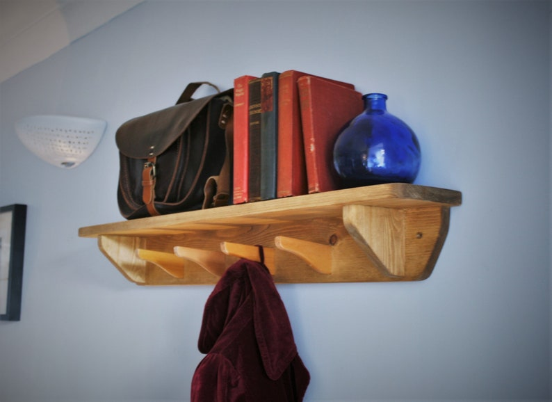 hat & coat rack shelf with hooks hallway or porch bookshelf image 0