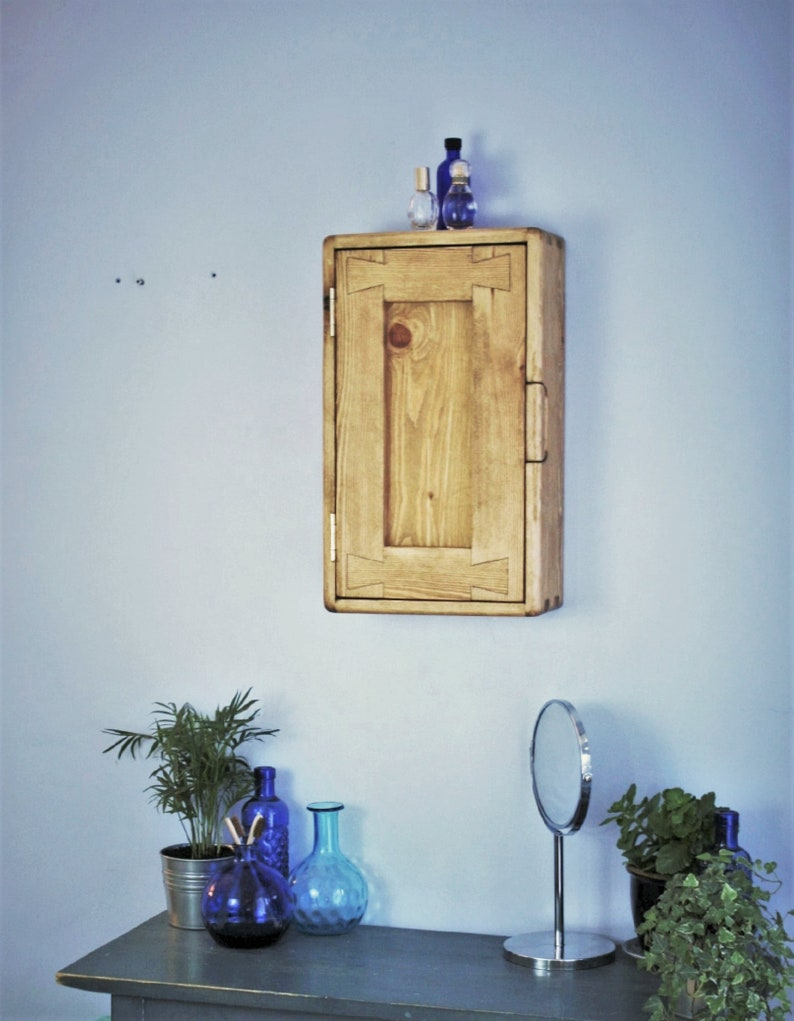 Narrow bathroom wall cabinet in light wood tall with 3 image 0