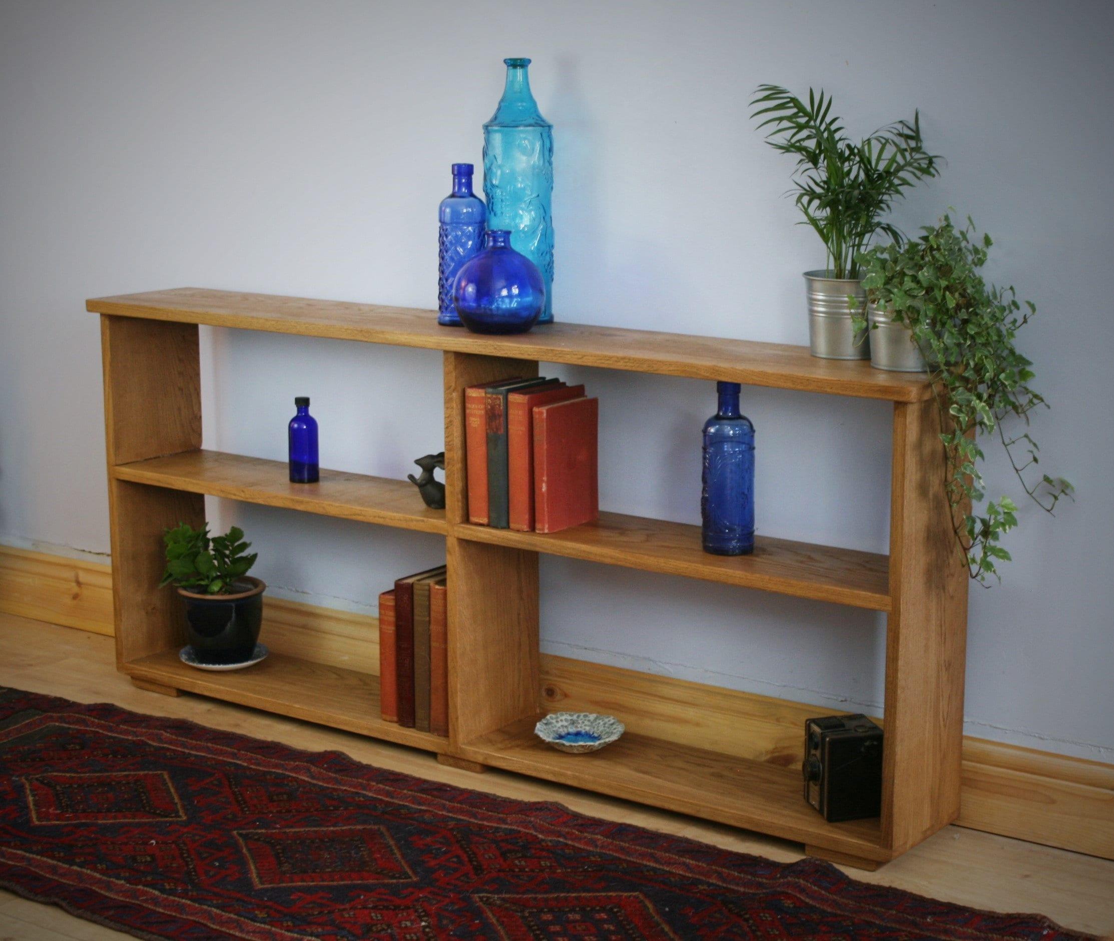 Long Low Wooden Book Shelf In Eco Fallen Oak Timbers 62h X 143w X 22d Cm Modern Rustic Farmhouse Style Designed Handmade In Somerset Uk