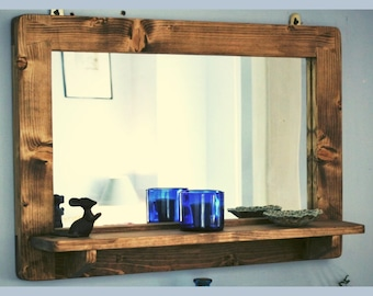 large mirror with shelf in natural rustic wood for bathroom, hallway, salon or wall mounted dressing table , custom handmade in Somerset UK