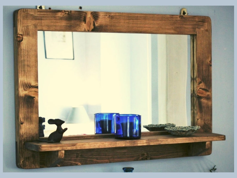 large mirror with shelf in natural rustic wood for bathroom image 1