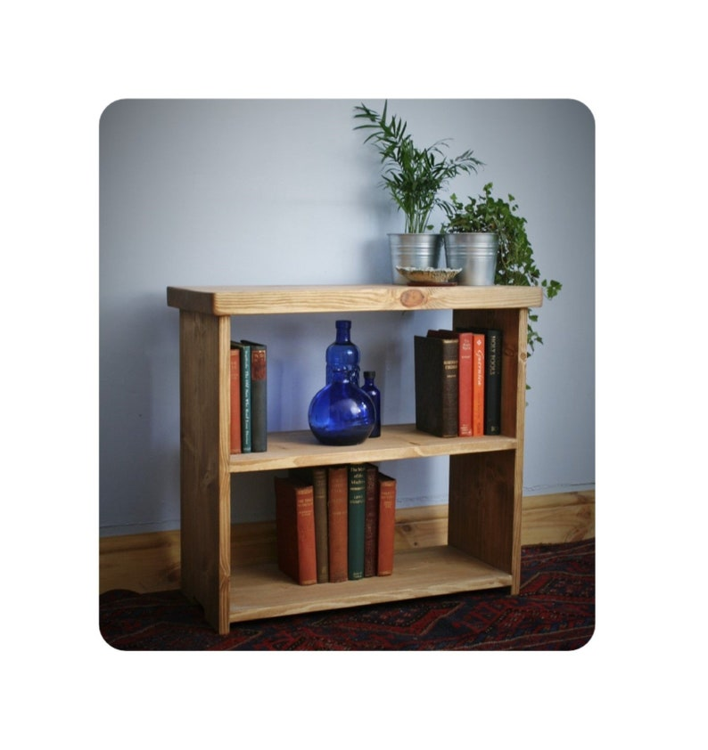 Low wooden bookshelf small bookcase shelves 65W x 60H x 29D image 0