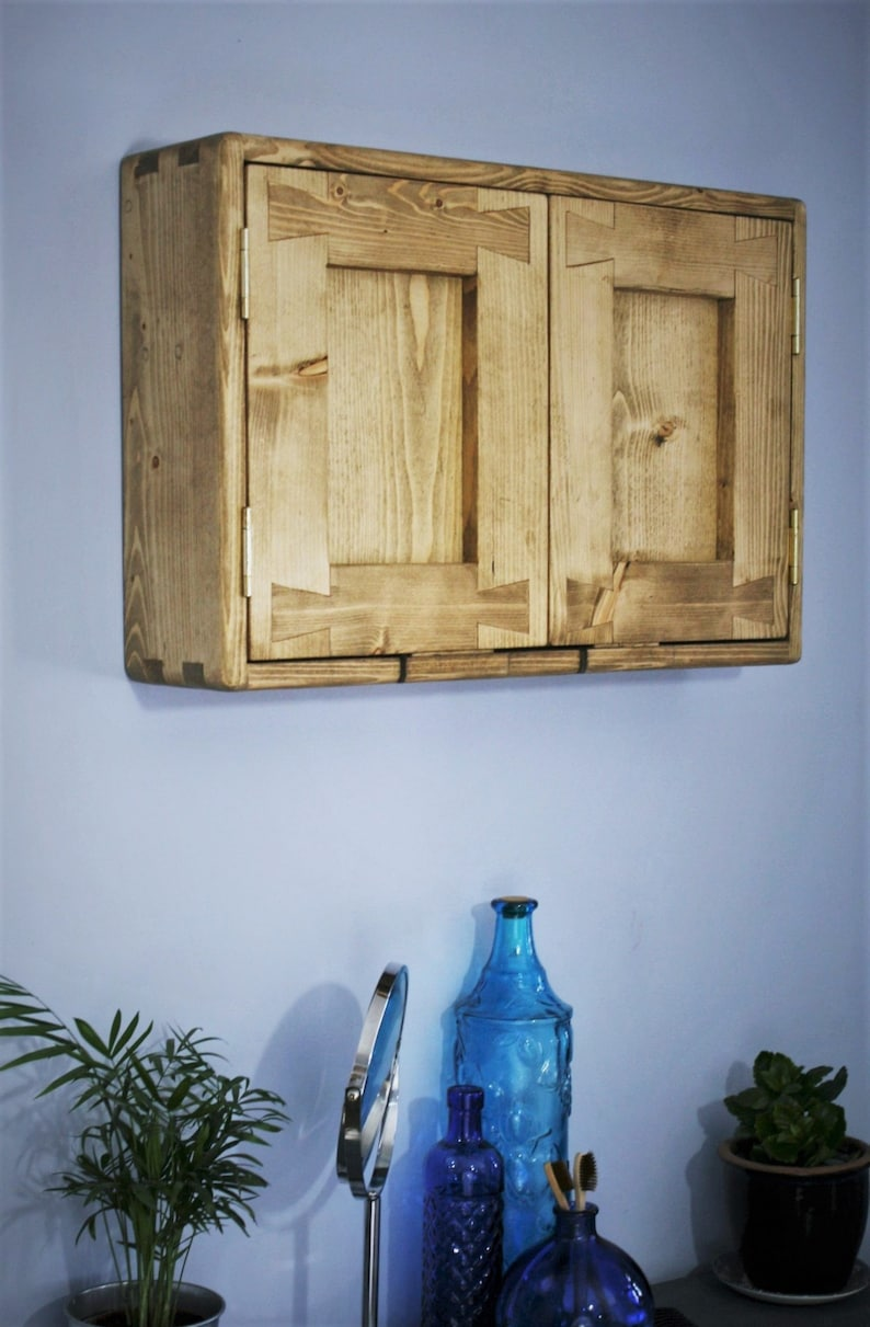 wooden bathroom wall cabinet modern rustic 40 H x 60 W x 14 image 0
