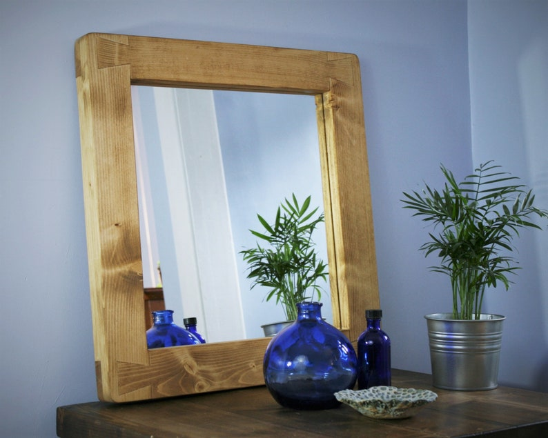 wooden wall mirror thick natural light wood frame image 0