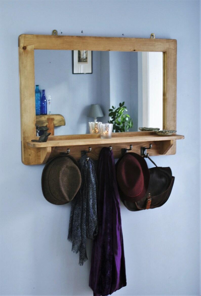 large mirror with shelf & 5 iron hooks solid wood frame image 0