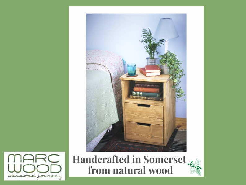 wooden bedside table with drawers & shelf nightstand cabinet image 0
