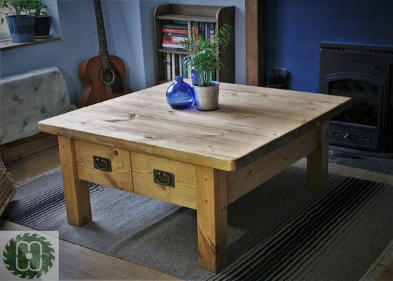 Large Square Wooden Coffee Table With Drawers Modern Rustic 100 Cm Coffee Table Rustic Chunky Natural Wood Custom Handmade In Somerset Uk