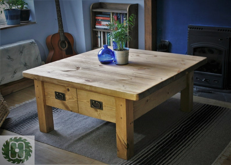 Large Rustic Wooden Coffee Table With Drawers 100 Cm Square Chunky Real Wood Metal Ring Handles Light Wood Custom Handmade Somerset Uk