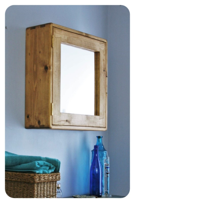 large wooden bathroom mirror cabinet 56Hx54Wx18D cm natural image 0