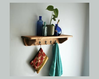 Bathroom wall shelf with cast iron hooks, 70 long x 15 deep cm, modern rustic farmhouse storage, made by us in Somerset UK from natural wood