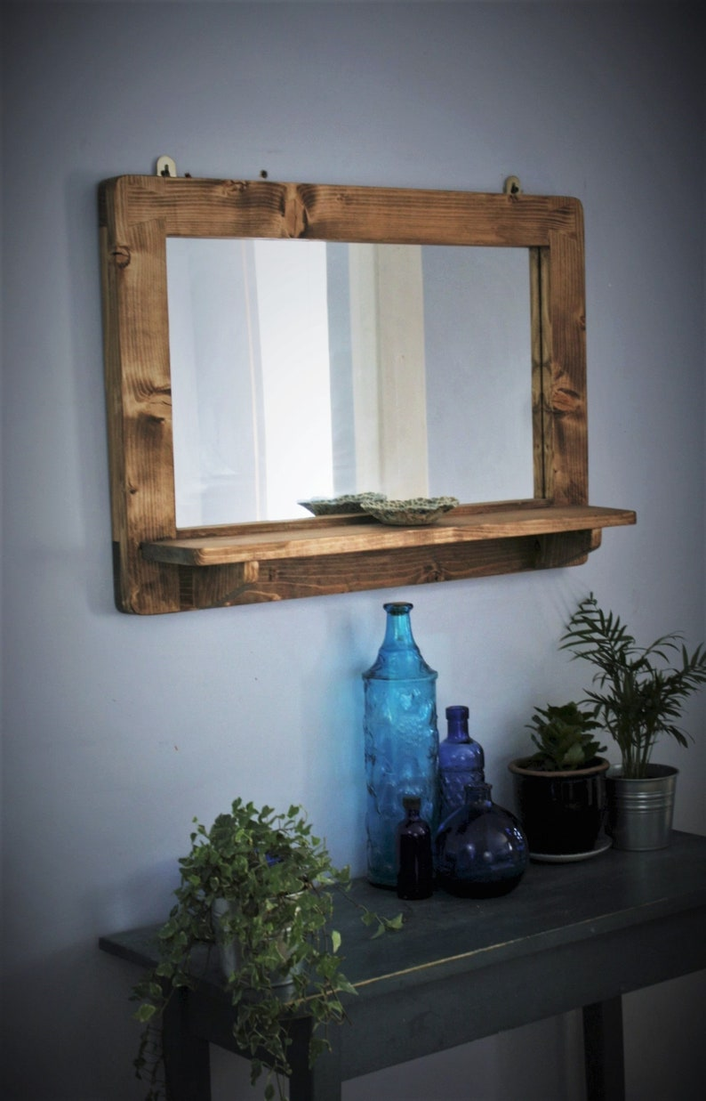 large mirror with shelf dark wood mirror frame & shelf real Landscape