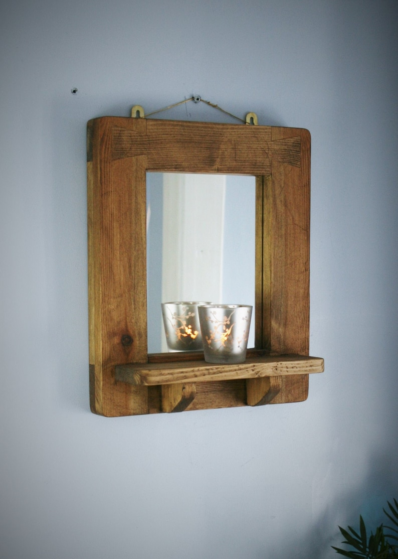 wooden wall mirror with shelf sustainable natural wood thick image 0