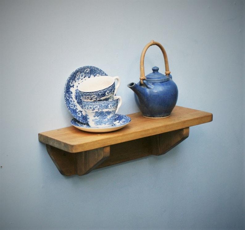 wooden kitchen shelf with brackets small 44 cm L x 15 cm Light Danish Oil