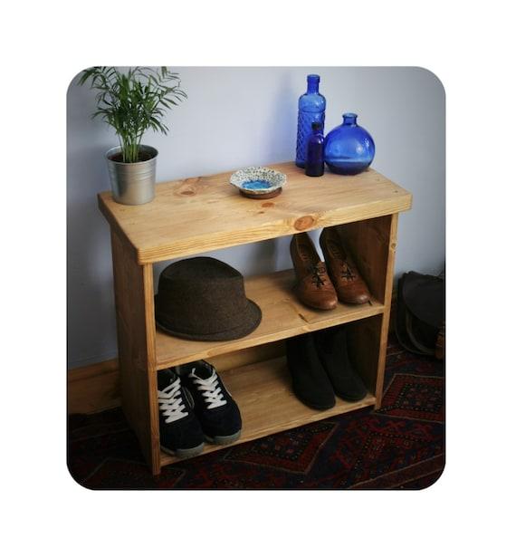 Incredible Wooden Shoe Bench Rack Small Low Bookshelf 65Wx60Hx29Dcm Natural Wood Chunky Hall Table Style Top Modern Rustic Handmade Somerset Uk Inzonedesignstudio Interior Chair Design Inzonedesignstudiocom