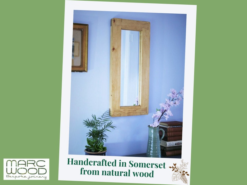 wooden wall mirror with a tall chunky rustic frame hallway Light Danish Oil