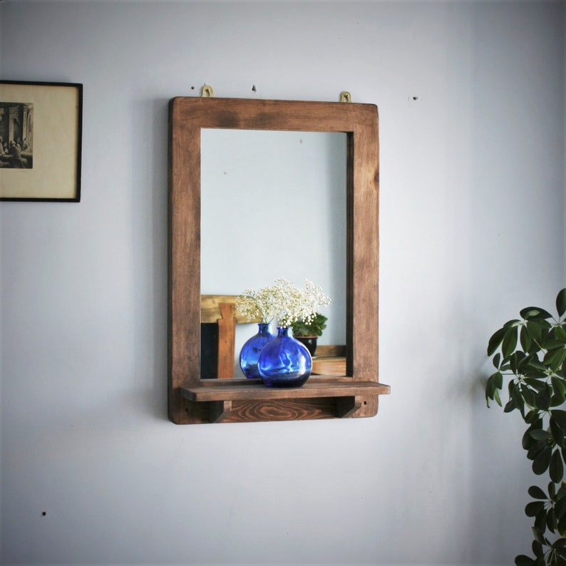 large wall mirror with shelf natural wood mirror dark wood Portrait