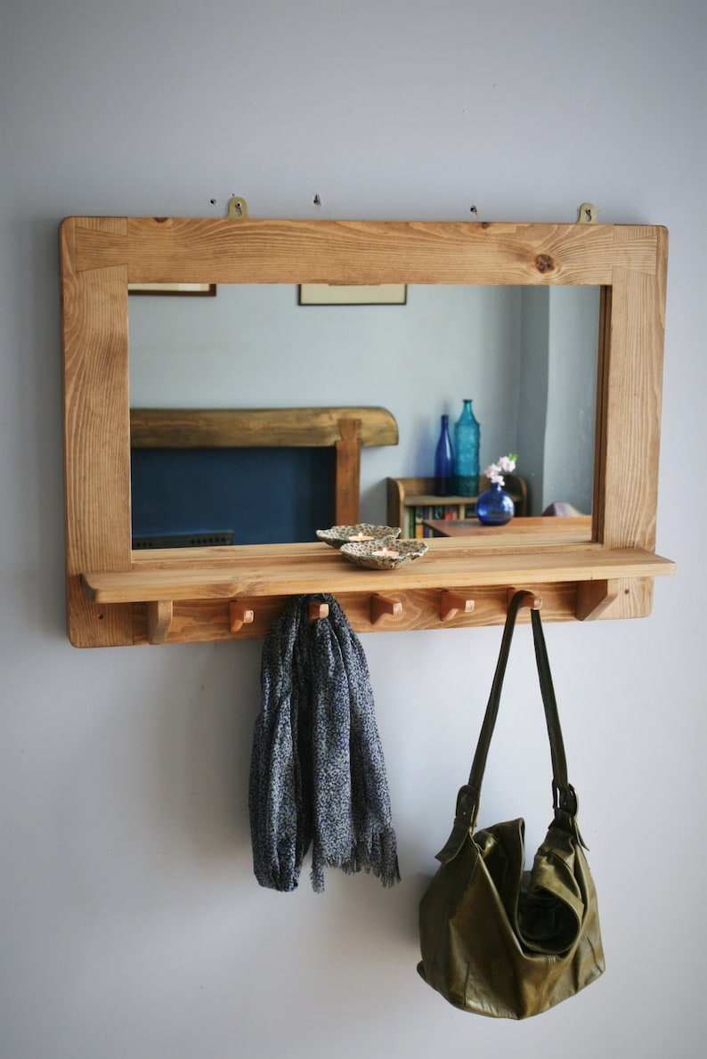 large mirror with shelf 5 coat hooks natural wood hallway image 0
