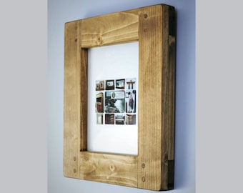 wooden picture & photo frame 10 X 8, high quality crafted sustainable thick wooden frame, custom sizes, rustic simplicity from Somerset UK