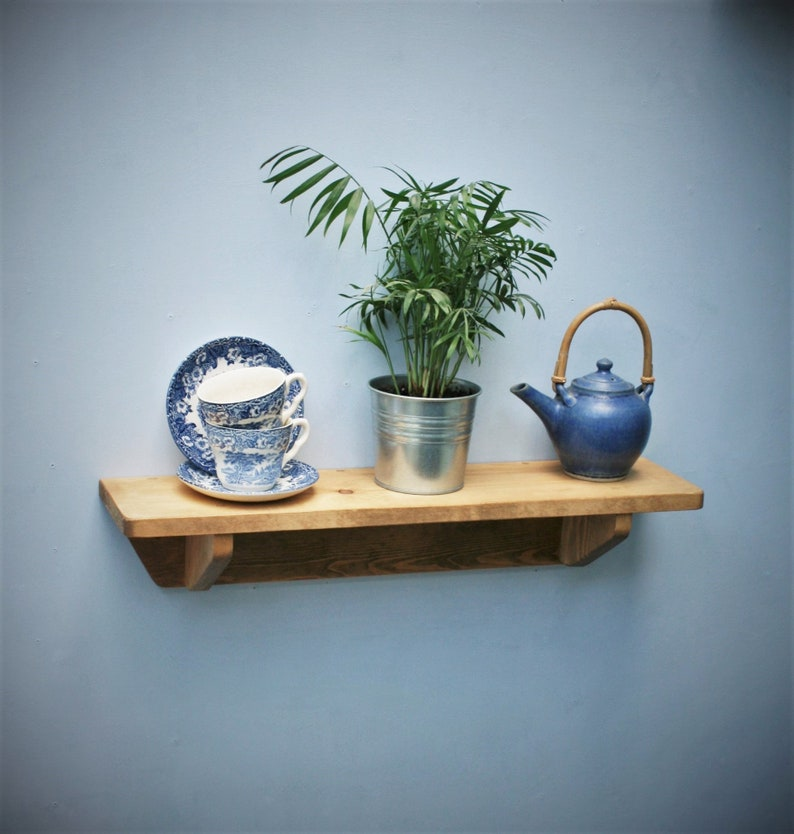 kitchen wall shelf with brackets 62 cm long chunky natural image 0