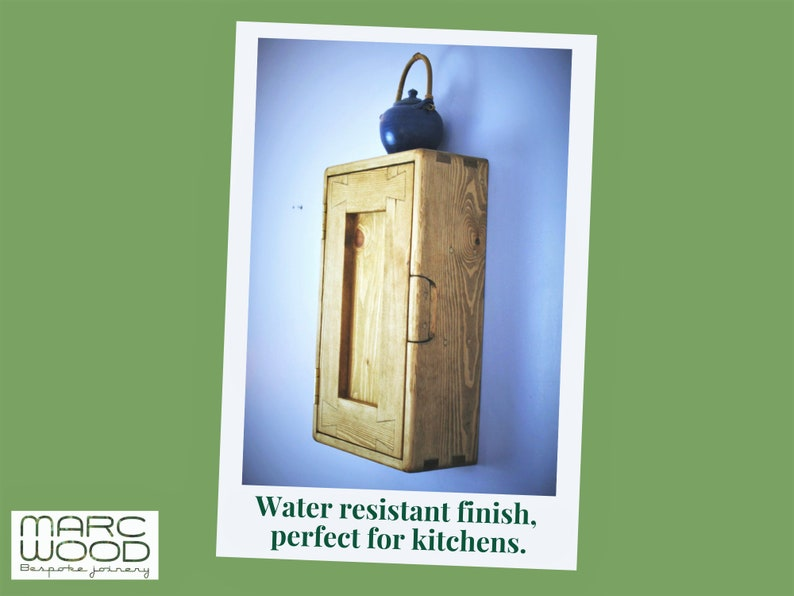 kitchen wall cabinet in natural wood tall & narrow with 3 image 0