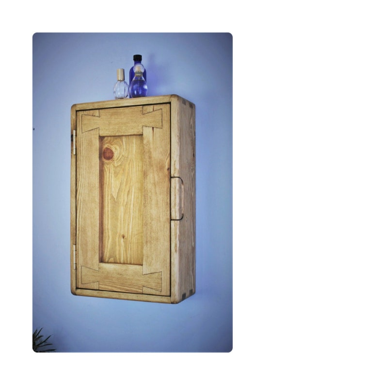 Slim bathroom wall cabinet in solid light wood tall & narrow image 0