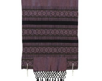 Hand Woven pink and black woven Wool and Silk Tallis