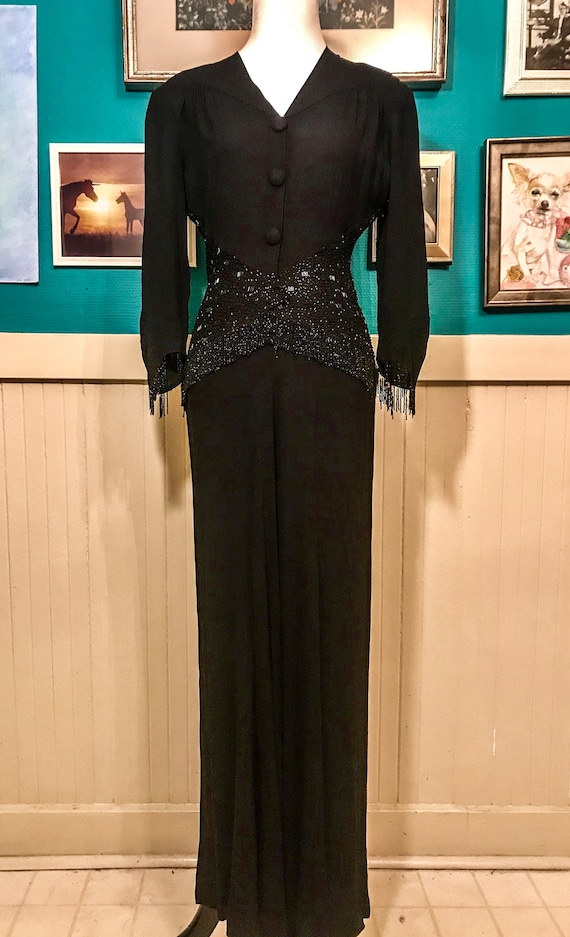 1930s Black Bias Cut Gown