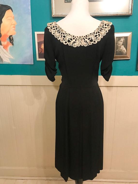 1940s White/Black Collar  Dress - image 3